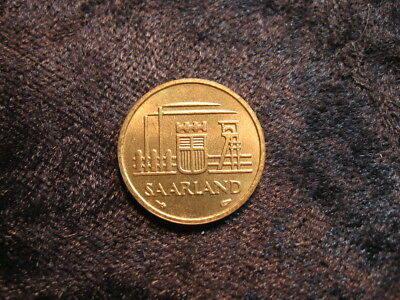 1 old world foreign coin GERMANY SAARLAND 10 franken 1954 KM1 1 year issue only