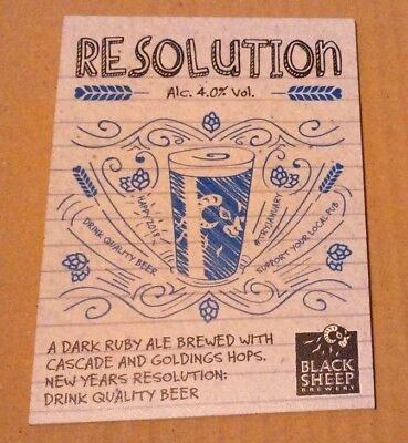 Beer pump clip badge front BLACK SHEEP brewery RESOLUTION cask ale Yorkshire