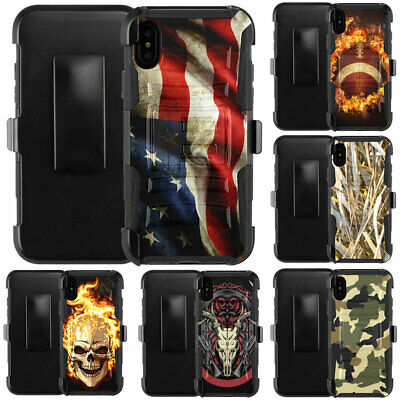 For iPhone XS Max XR 2018 Case Holster Clip Combo Rugged Kickstand Phone Cover
