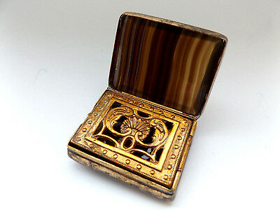 Beautiful Antique Vintage Gold Plated Agate Hard Stone Vinaigrette Box.