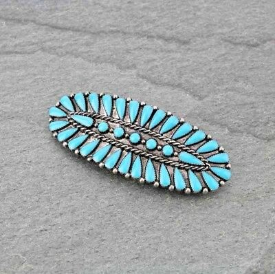 """Western Cowgirl Large 3"""" Turquoise Silver Fashion French Clip Hair Barrette"""