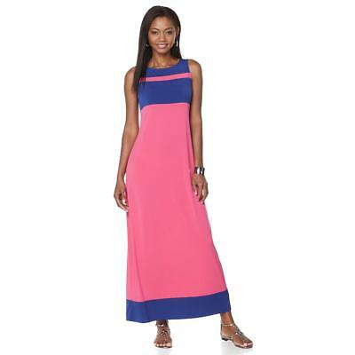 a89ba75f7c92a6 Liz Lange Women s Color-block Jersey Stretch Knit Maxi Dress Small Size HSN   90