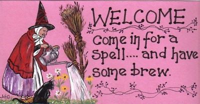WELCOME Come in for a Spell. Witch Broomstick Halloween Fun Humour Hanging Sign