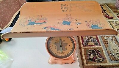 Vintage Antique Metal Baby Scale1950's Weighs Up To 30lb WORKING it is Beautiful