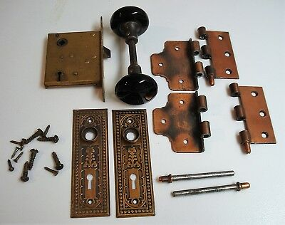 Full Set Antique Door Hardware Porcelain Knobs/Hinges/Pins/Back Plates/Lock NICE