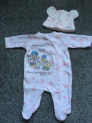 Disney Minnie Mouse Baby Girls All In One Baby Grow Sleep Suit & Hat Newborn