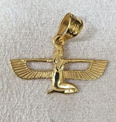 Beautiful Solid Heavy18K Gold Hand Made Egyptian Winged Isis Pendant /Charm