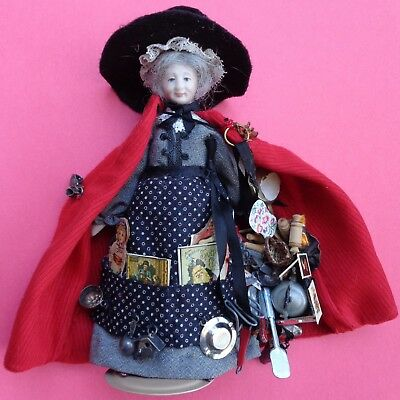 Peddler Doll Miniature  Old Lady Character Bisque  Dollhouse  Doll