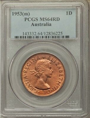 Australia 1953m Penny 1d Choice Uncirculated PCGS MS64RD - RED!