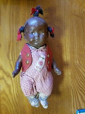 Vintage Side Glancing Topsy Composition Black Baby Doll
