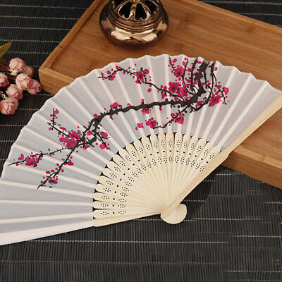 Chinese Folding Hand Bamboo Fan Plum Blossom Printing DIY Wedding Favour Gift