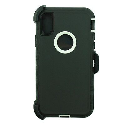 For Apple iPhone XR Defender Case Cover (Clip Holster Fits Otterbox)BLACK WHITE
