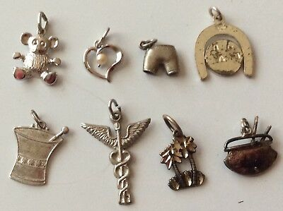 Lot Of 8 Vintage To Modern Sterling 925 Silver Charms ESTATE Jewelry