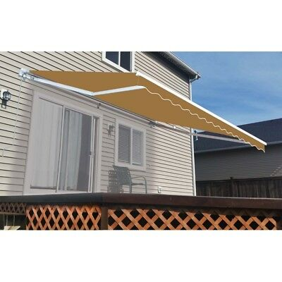 ALEKO Retractable Patio Awning 12 X 10 Ft Deck Sunshade Sand Color