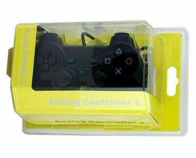 NEW Wired Black Dual Shock Controller for PS2 PlayStation Joypad Gamepad UK