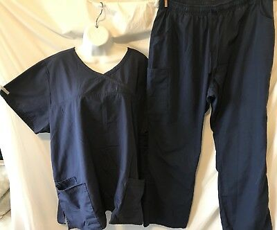 RED PANDA (2XL) Blue Scrubs Set.  Pants (2XLP) Inseam 27 Inches