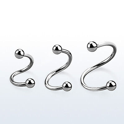 7b899355ba391 16G SURGICAL STEEL TRIPLE Spiral Twister Barbell Helix Cartilage ...