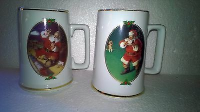 1996 Collector Edition Coca Cola Christmas Steins Mugs 12 Oz Three Finger Handle