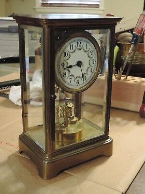 ** No Reserve**  Torsion Pendulum Movement In A Crystal Regulator Case