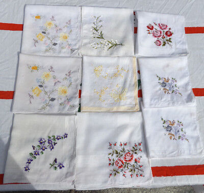 Vintage Embroidered Handkerchief Lot of 9