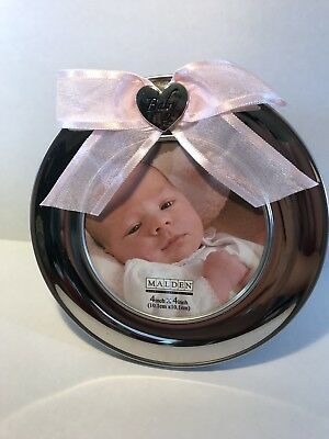 Malden Designs Picture Frame Baby Girl 4x6 Circle Photo Frame Pink Bow