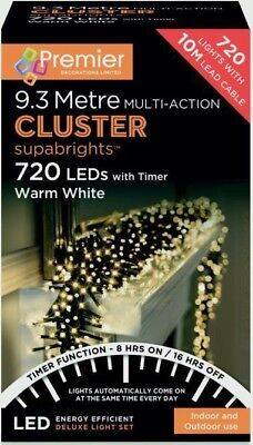 Premier 720 Multi-Action LED Cluster Indoor Outdoor Christmas Lights WARM WHITE