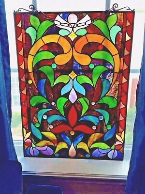 Vintage Stained glass 25X18  perfect in any window-Very classic!