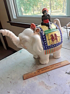 Vintage Teapot Indian Ceramic Elephant With Rider Made In Japan