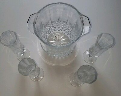 Crystal Champagne Wine Bucket With 4 Champagne Flutes Cristal D'arques Longchamp