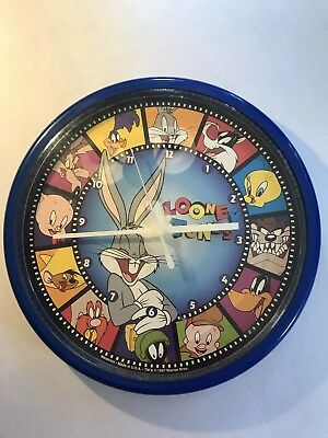 "Looney Tunes Vintage Westclox Blue Wall Clock Bugs Bunny 10"" Diameter 1997 Works"