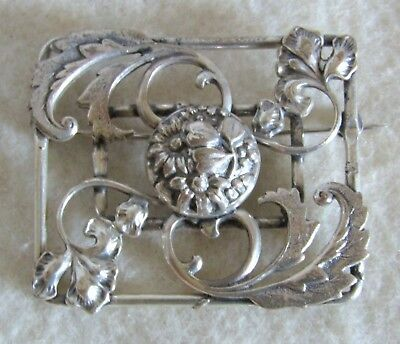 Beautiful Antique Art Nouveau Sterling Silver Flowers Leaves Pin Brooch