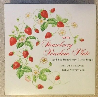 Vintage Avon Strawberry Porcelain Plate & 6 Strawberry Guest Soaps NEW IN BOX