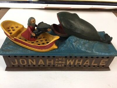 Vintage Functioning Reproduction Cast Iron Jonah and the Whale Bank