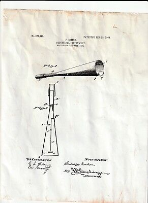 Vintage 1908 Acoustical Instrument With Original Patent Papers And Diagrams !!