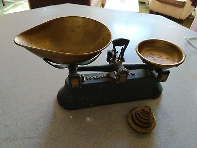 Antique Cast Iron And Brass Balance Candy Scale