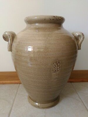 Antique Beautiful Chinese tan crackle glaze vase - jar