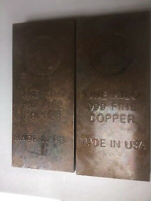 One KILO Copper Bullion Bar .999 Copper ( 32.15 Ounces  ) 1 Bar Saint Gauden