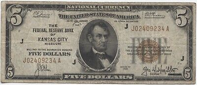 1929 $5 National Currency - Kansas City!!!!