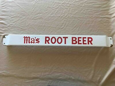 Old Ma's Root Beer Porcelain Grocery Store Porcelain Advertising Door Push Bar