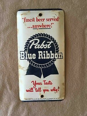 Vintage Pabst Blue Ribbon Beer Tin Advertising Door Push Palm Plate Sign