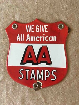 Vintage We Give All American AA Stamps Porcelain Grocery Store Door Push Sign