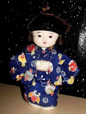 "VINTAGE Oriental Asian Japanese China DOLL CELLULOID HEAD CLOTH BODY  7"" LOVELY"