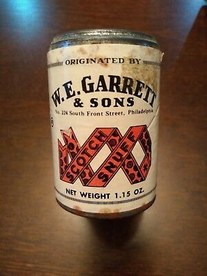 Unopened WE Garrett & Sons Tripsis Scotch Snuff Tin Patent 1870 Sealed