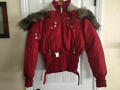 Apple Bottoms Women's Hooded Down & Feather Jacket Coat Size M - New w/ Tags RED