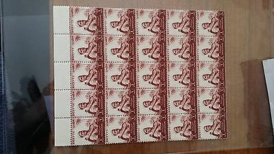 EGYPT 1954-5 1mill red brown mint block of 25 stamps lot1