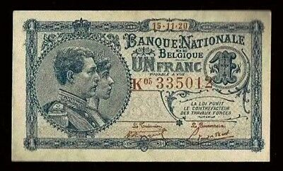 Belgium | 1 Franc | 1920 | UNC with slight Counting Fold | P92