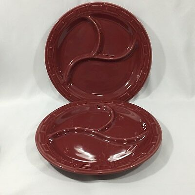 Set Of 2 Longaberger Divided Portions Dinner Plates Paprika Red Exc Condition!