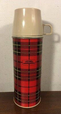 Vintage King Seeley Plaid Thermos Bottle No 2242 Picnic Camping Pint Size