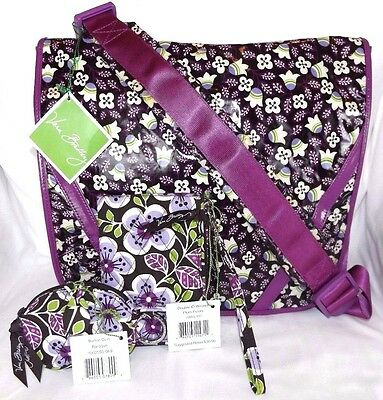 Vera Bradley Frill Expandable Messenger Bag Lot Of 3 - Plum Petals Wristlet Coin