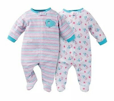 0dbcf9de8 GERBER BABY GIRLS  2 Pack Zip Front Sleep  n Play